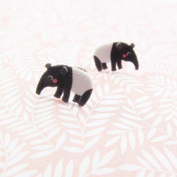 Giant anteater, anteater, tapir, eating ants, brown, earring, print on plastic, stainless stud, handmade, les perles rares