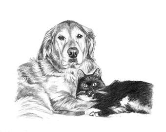 Pet Portrait Custom Gift Idea Hand Drawn Sketch of Your Pets 2 Subjects