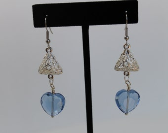 Blue Heart Earrings, Glass Sapphire Blue Heart and Silver Triangle Earrings One Of A Kind