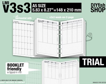 Trial [A5 v3s3 w/o daily] July to September 2018 - Filofax Inserts Refills Printable Binder Planner Midori.