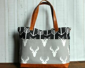 Black  Arrows - Grey Deer Head with Vegan Leather - Outside Pockets - Tote Bag /  Diaper Bag  / Large Bag