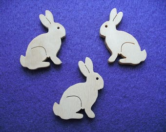 3 rabbits, wood,  5,5 x 5,5 cm (10-0003B)