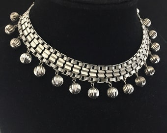 Vintage 1960s Silver Egyptian Revival Necklace Boho Gypsy Choker Chunky  Collar Necklace Runway Necklace Festival Jewelry Dangle Bead