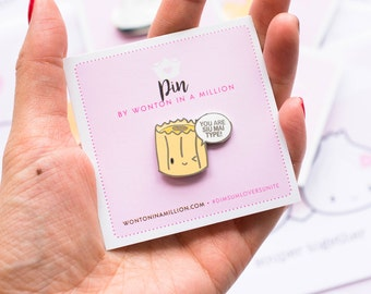"""Punny Enamel Pin - """"You Are Siu Mai Type"""" [Silver Pins, Enamel Pin, Flair Pin, Punny Pins] // The Punny Dimsum Collection - PIN007"""