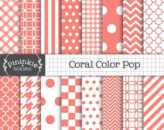 Coral Scrapbook Paper, Digital Download Paper, Digital Paper Pack, Coral Digital Paper