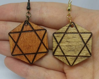Star of David | Wood Burned Geometric Earrings | Wood Jewelry | Rustic | Gifts for Her | Pyrography | Unique gifts | Boho | Wicca | New Age