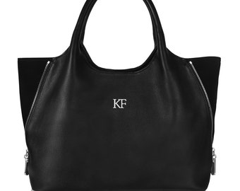 Leather Top Handle Bag, Black Leather Handbag Top Handle, Women's Leather Bag KF-288