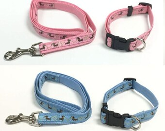 Dachshund Sausage Dog Print Collar and Leash SET