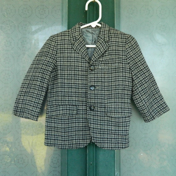 Vintage Jr. Gent of Rutgers Man Tailored Plaid Wool Jacket for a Small Child