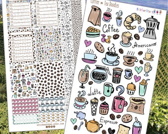 Coffee and Tea Doodles Planner Stickers