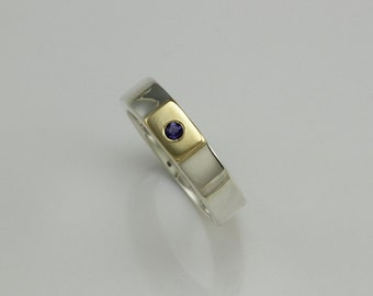 Gold silver ring, silver gold stacking rings, iolite ring, modern ring, ring size 8