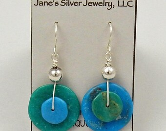 Silver and Turquoise Disc Earrings in Two Natural Colors Unique