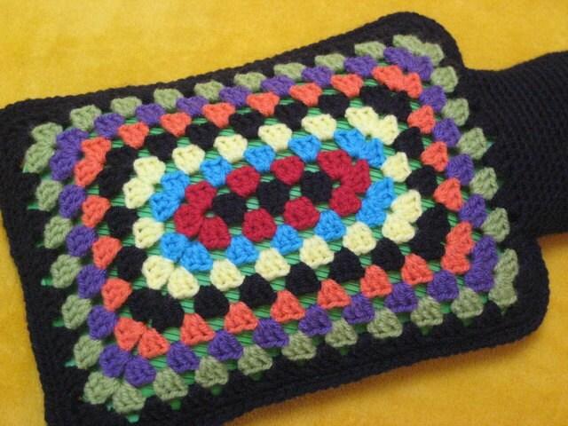 Granny Square Rectangular Hot Water Bottle Cover Crochet PATTERN PDF ...