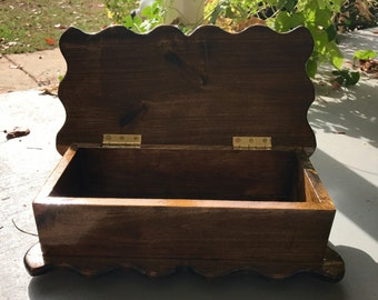 Handmade wooden poplar keepsake box for storage/jewelry