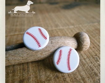 DOLLAR DEAL! Take Me Out To The Ball Game. Baseball Post Earrings -- (Sports Jewelry, Summer, Softball, Baseball Studs, Cute, Gift Under 5)