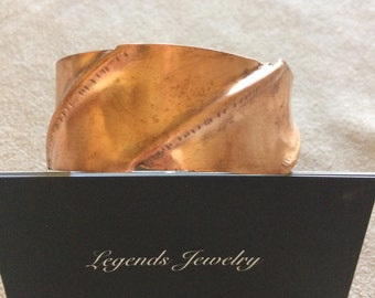 Cuff bracelet, copper trifold, for men or women, handcrafted. Great gift idea, made in the USA.
