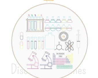 Science Set Hand Embroidery PDF Pattern Instant Download
