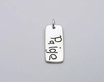 Handwriting Jewelry, Child's Handwriting, Children's Handwriting, Personalized Jewelry, Signature Jewelry, Handwriting Bar Pendant, Memorial