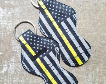 Thin Gold Line Flag, Thin Yellow Line, Chapstick Holder Keychain, 911 Dispatcher Wife, Dispatch gifts, Gift for Dispatcher Moms, calm voice