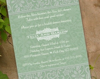 bridal shower invitations, sage bridal shower invitations, wedding shower invitations, bridal shower package, bachelorette party, IN217.1