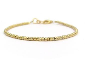 24K Gold Plated Seed Bead Bracelet, Beaded Bracelet, Gold Bracelet, Friendship Bracelet, Minimal Bracelet, Accent Bracelet, Hawaiian Jewelry