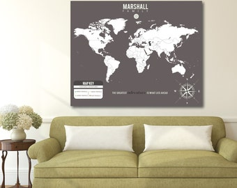 Trendy Map, Custom Modern Map, Family Map, Themed Map Key // Personalized, Gallery Wrapped Canvas or Art Print // H-I23-1PS XX0