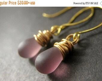 MOTHERS DAY SALE 14K Gold Drop Earrings - Purple Frosted Glass Wire Wrapped Earrings. Dangle Earrings. Handmade Jewelry.