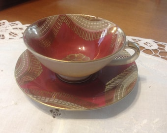 Golden Crown E R 1886 Cup and Saucer Made In Western Germany