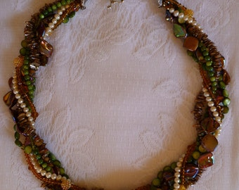 """Multi Strand Necklace MOP Shells Freshwater Pearls Faceted Crystals 25"""""""