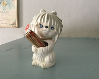 Vintage White Dog Lhasa Apso Toothpick holder,Lego,Japan,60s,Jeweled Eyes