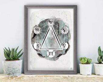 Per ASPERA Ad Astra, poster, print, prints, artwork, premium print, wall art, moon, Galaxy, geometric, triangle, all