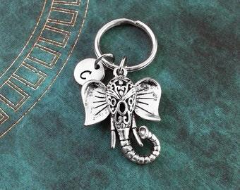 Elephant Keychain, Elephant Keyring, Custom Keyring, Personalized Keychain, Indian Elephant Jewelry, Elephant Head Pendant, Elephant Gift
