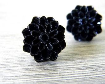 Black Mum Flower Post Earrings Dahlia 15mm Studs