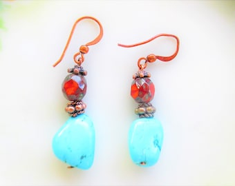 turquoise earrings, red Picasso earrings, southwest earrings, boho chic earrings, gift idea for women, gift for mom, copper earrings