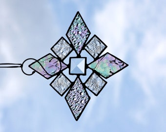 Stained Glass Iridescent Snowflake Suncatcher