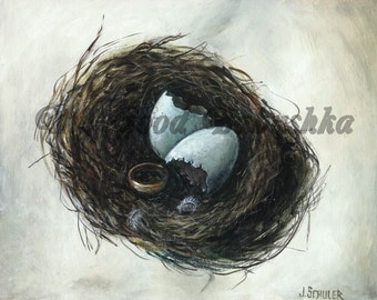 Bird Nest and the Gold Ring Print, Fairy Tale Art, Folk Tale Art, Storybook Art, Riddle, Eggs, Eggshells, Wedding Ring, Feather, Forest