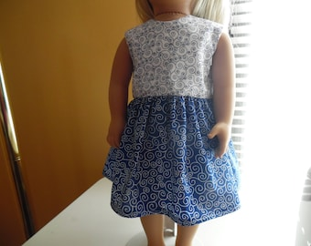 """White and blue swirls dress for 18"""" dolls"""