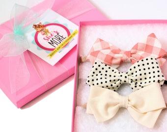 Hair Bow Set - Baby shower gift - Nylon headbands Baby- Gingham, Polka Dot and Cream hair bows