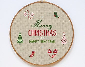 Christmas Cross Stitch Pattern, Merry Christmas Cross Stitch Pattern, New Year Modern Cross Stitch Pattern, PDF Format, Instant Download