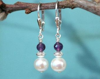 Pearl Earrings, Amethyst Earrings, Genuine Cultured Pearl and Amethyst Earrings, Sterling Silver Earrings, Bridal, Pearl Dangle Earrings