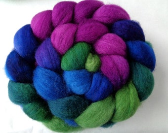 Superwash wool roving, BFL, spinning fiber, hand painted roving, hand dyed roving, british wool, green, blue, purple, 3.5oz, 100g, 100% wool