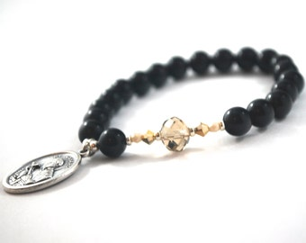 St Gerard Bracelet. Patron Saint Bracelet. Fertility Catholic Prayer Bracelet. Heartfelt Jewelry. Black Onyx + Crystal Quality Gemstones