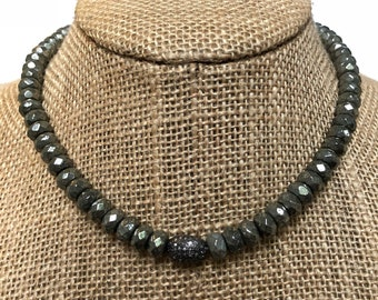 Pyrite Beaded Necklace with Pavé Diamond Bead