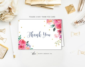 Watercolor Floral Thank You Card, Shower Thank You Card, Thank You Card, Printable Thank You, Folded Thank You, 5x3.5 PDF Instant Download