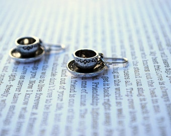 Teacup Earrings -- Tea Time, Silver Tea cup and Saucer, Coffee Cup