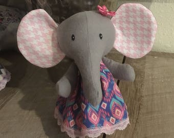 Cute Baby Elephant plushie - Blue and Pink Dress