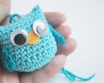 Mini Blue Crochet Owl/Plush crochet owl ornaments