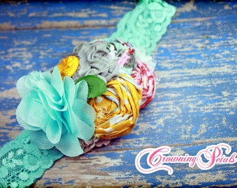 Grey, Yellow, Aqua Hair Bow, Fabric Flower Headband, Hair Accessories, Gray Hair Piece, Hair Clip, Turquoise, Pink, Baby Girl Headband, Bow