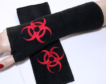 Red Biohazard Embroidered  Soft Fleece Arm Warmers Gloves Fingerless Black MTCoffinz