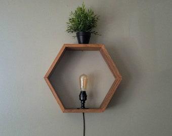Honeycomb Shelf Lamp - Edison Bulb Lamp - Hexagon Sconce - Wooden Shelf - Edison Bulb Decor